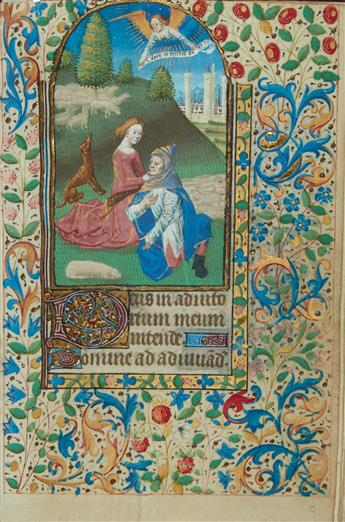 (MANUSCRIPT.)  Illuminated Book of Hours in Latin on vellum, with 12 miniatures.  France, mid-15th century