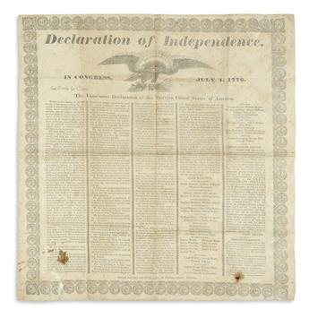 (DECLARATION OF INDEPENDENCE.) Typeset handkerchief printing of the Declaration with a border of medallions.