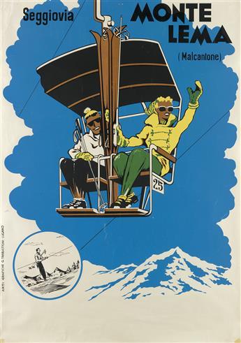 DESIGNER UNKNOWN. MONTE LEMA / SEGGIOVIA. Circa 1955. 39x27 inches, 99x70 cm. G. Trabattoni, Lugano.