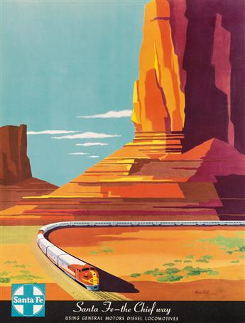BERN HILL (1911-1977). SANTA FE - THE CHIEF WAY. Circa 1950s. 23x17 inches, 59x45 cm.