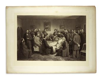 (PRINTS--ASSASSINATION.) Ritchie, Alexander Hay; artist and engraver. Proof print of his massive Death of Lincoln engraving.