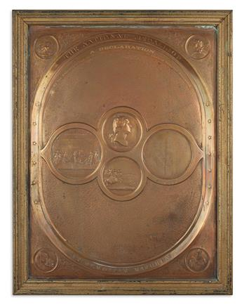 (DECLARATION OF INDEPENDENCE.) Pair of decorative copper-plated relief printings.