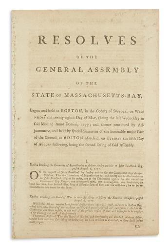 (AMERICAN REVOLUTION--1777.) Resolves of the General Assembly of the State of Massachusetts-Bay, begun . . . the 28th Day of May.
