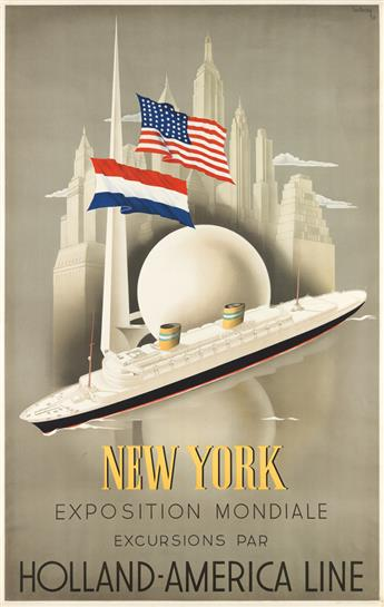 WILLEM FREDERICK TEN BROEK (1905-1993). NEW YORK EXPOSITION MONDIALE / HOLLAND - AMERICA LINE. 1938. 37x24 inches, 96x61 cm. Joh Ensche