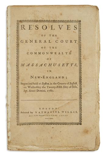 (AMERICAN REVOLUTION--1780.) Resolves of the General Court of the Commonwealth of Massachusetts in New-England.