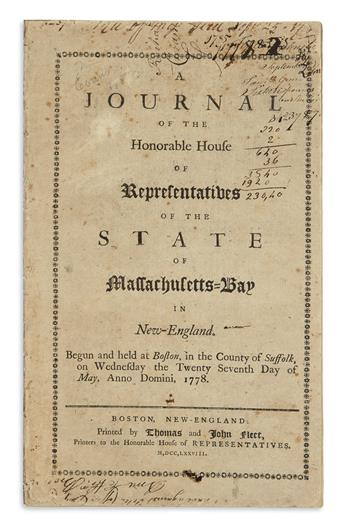 (AMERICAN REVOLUTION--1778.) A Journal of the Honorable House of Representatives of the State of Massachusetts Bay.