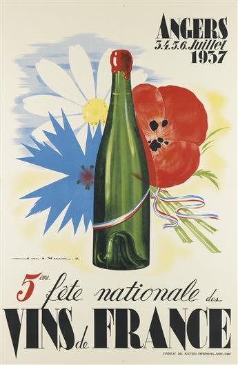 JEAN A. MERCIER (1899-1995). 5ÈME FÊTE NATIONALE DES VINS DE FRANCE. 1937. 58x38 inches, 149x97 cm. Syndicat des Maitres Imprimeurs, Pa