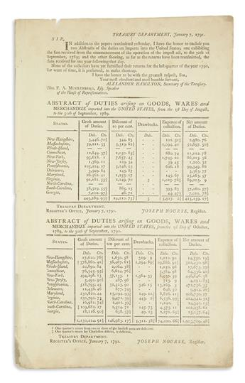 HAMILTON, ALEXANDER. Printed report on import duties, issued as Secretary of the Treasury.