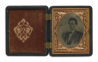 (PHOTOGRAPHY.) Cased tintype of a scarce 1860 campaign image.