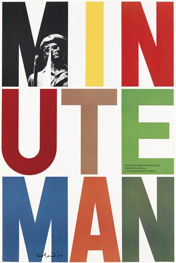 PAUL RAND (1914-1996). MINUTE MAN. 1974. 42x28 inches, 106x71 cm. U.S. Government Printing Office, Washington D.C.
