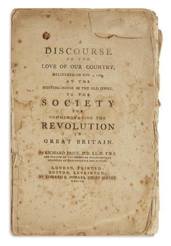 (AMERICAN REVOLUTION--HISTORY.) Price, Richard. A Discourse on the Love of Our Country . . .