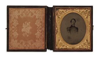 (PHOTOGRAPHY--CIVIL WAR.) Cased sixth-plate tintype portrait of Union general Nathaniel Banks.