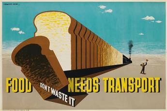 LEWITT-HIM (JAN LEWITT, 1907-1991 & JERZY HIM, 1900-1981). FOOD NEEDS TRANSPORT / DONT WASTE IT. 1944. 19x29 inches, 49x75 cm. Geo. Gi