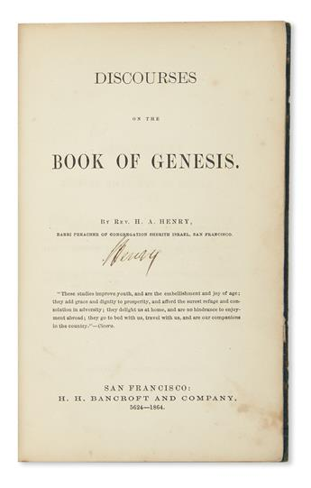 (JUDAICA.) Henry, Henry A. Discourses on the Book of Genesis.