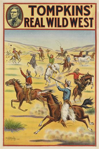 DESIGNER UNKNOWN. TOMPKINS REAL WILD WEST. Two posters. Circa 1914. Each approximately 29x19 inches, 73x48 cm. The Donaldson Litho. Co
