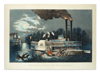 CURRIER & IVES. Wooding Up on the Mississippi.