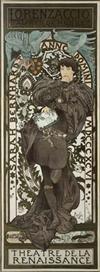 ALPHONSE MUCHA (1860-1939) LORENZACCIO. 1896. 80 x 29 inches. F. Champenois, Paris.