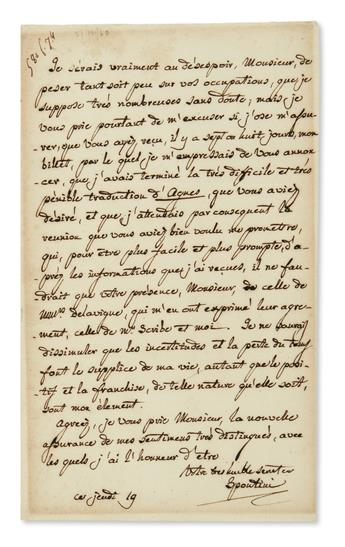 SPONTINI, GASPARE. Autograph Letter Signed, Spontini, to Director of the Royal Academy of Music Émile Timothée Lubbert, in French,
