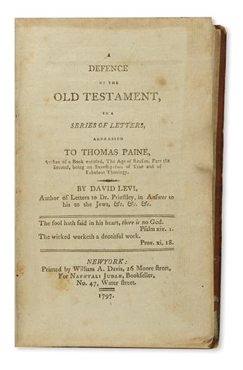 (JUDAICA.) Levi, David. A Defence of the Old Testament, in a Series of Letters, Addressed to Thomas Paine.