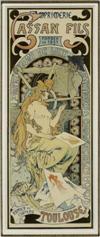 ALPHONSE MUCHA (1860-1939) CASSAN FILS. 1896. 18 x 7 inches. [Cassan Fils, Toulouse.]