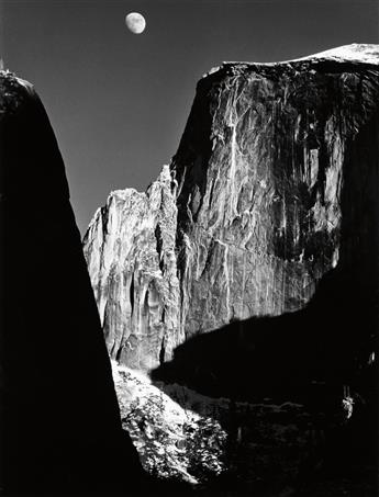 ADAMS, ANSEL (1902-1984) Half Dome, Moon.