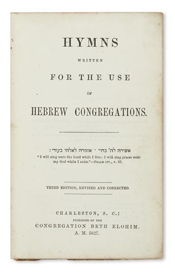 (JUDAICA.) Hymns Written for the Use of Hebrew Congregations.