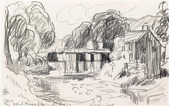 OSCAR BLUEMNER Group of 7 rural landscape drawings.