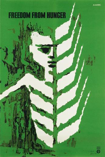 ABRAM GAMES (1914-1996). FREEDOM FROM HUNGER. 1960. 29x19 inches, 75x50 cm. Arti Grafiche Panetto & Petrelli, Spoleto.