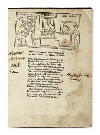 INCUNABULA  JUVENALIS, DECIMUS JUNIUS. Satyrae.  1498