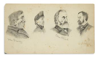 (MASSACHUSETTS.) Kennedy, John Barkley; artist. Sketch book of local portraits by an amateur artist in Ware.