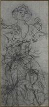 ALPHONSE MUCHA (1860-1939) [THE RUBY.] Preliminary pencil study. Circa 1900. 35 x 16 inches.
