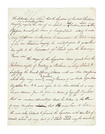 (AMERICAN REVOLUTION--1778.) [Leavitt, Elisha?] Draft agreement to lease a Boston Harbor island to the French Fleet.