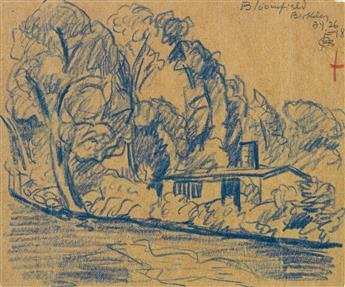 OSCAR BLUEMNER Group of 5 landscape drawings.