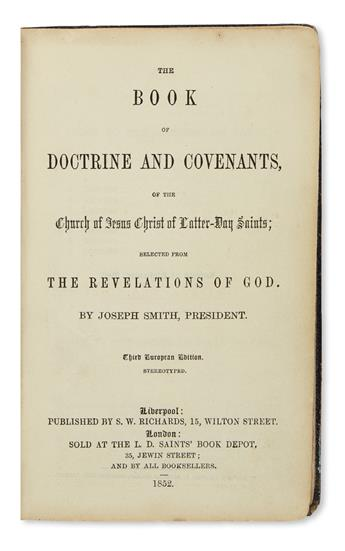 (MORMONS.) Smith, Joseph. The Book of Doctrine and Covenants . . . Selected from the Revelations of God.
