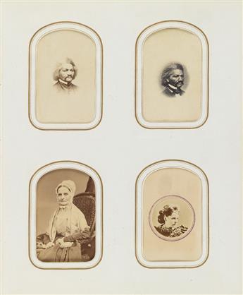 (CARTES-DE-VISITE) Victorian album containing 100 remarkable carte-de-visite portraits of important American and European cultural figu