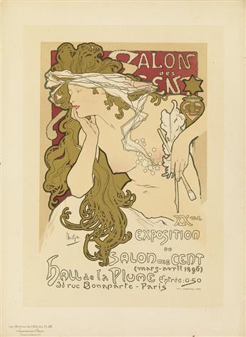 ALPHONSE MUCHA (1860-1939). SALON DES CENT. Maîtres de lAffiche pl. 94. 1897. 15x11 inches, 39x28 cm. Chaix, Paris.