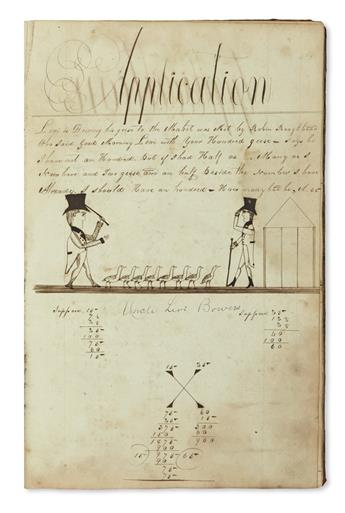 (CIPHERING BOOKS.) Bowers, Levi. Two nineteenth-century small folio manuscript ciphering books.