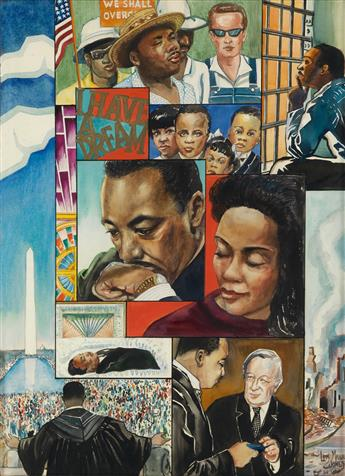 LOÏS MAILOU JONES (1905 - 1998) Homage to Martin Luther King.