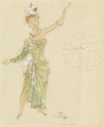 (THEATER / COSTUME) MOTLEY. [ELIZABETH MONTGOMERY.] Nellie, Act II, Scene 3 * Comic Pacific Costume.