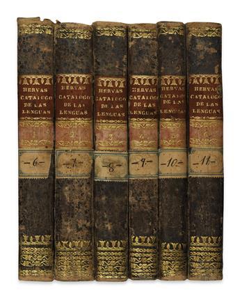 HERVÁS Y PANDURO, LORENZO. Catálogo de las Lenguas de las Naciones conocidas.  6 vols.  1800-05