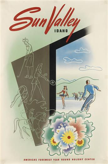 VARIOUS ARTISTS. SUN VALLEY. Group of 3 posters. Circa 1940s-1950s. Each approximately 36x24 inches, 91x62 cm.