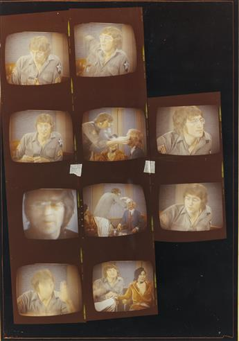 (THE BEATLES) Binder with 26 vintage photographs and 5 halftone prints of the Fab Four and the 5th Beatle, Yoko Ono, that was assembled