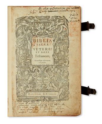 (BIBLE IN LATIN.)  Biblia sacra veteris et novi testamenti, secundum editionem vulgatam.  1578