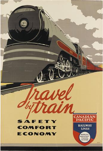 NORMAN FRASER (DATES UNKNOWN). TRAVEL BY TRAIN / CANADIAN PACIFIC. 1947. 36x24 inches, 93x61 cm.