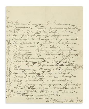 SIRINGO, CHARLES A. Autograph Letter Signed, Chas. A. Siringo, to physician E.A. Duncan,