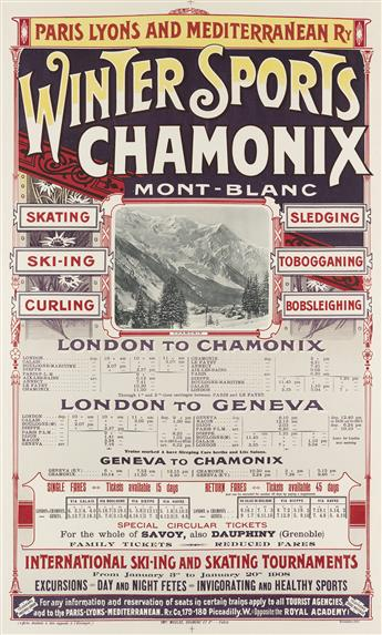 DESIGNER UNKNOWN. WINTER SPORTS CHAMONIX / MONT - BLANC. 1907. 40x24 inches, 101x61 cm. Maulde, Doumenc et Cie., Paris.