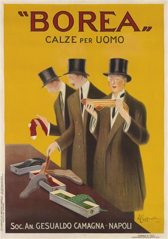 LEONETTO CAPPIELLO (1875-1942). BOREA / CALZE PER UOMO. 1923. 54x38 inches, 137x97 cm. Les Nouvelles Affiches Cappiello, Paris.