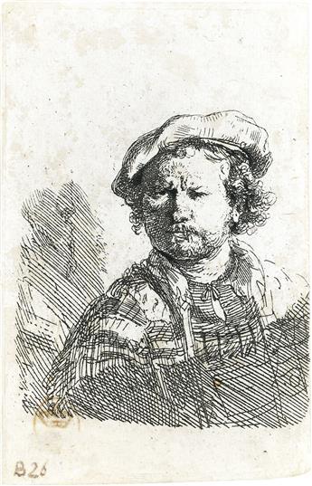 REMBRANDT VAN RIJN Self Portrait in a Flat Cap and Embroidered Dress.
