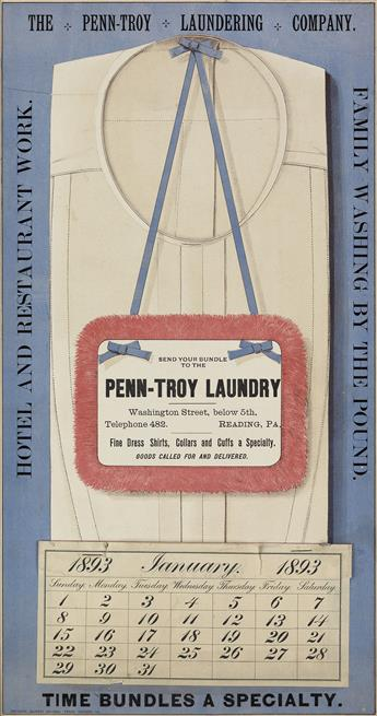 DESIGNER UNKNOWN. PENN - TROY LAUNDRY. 1893. 19x10 inches, 48x26 cm. National Laundry Journal Press, Chicago.