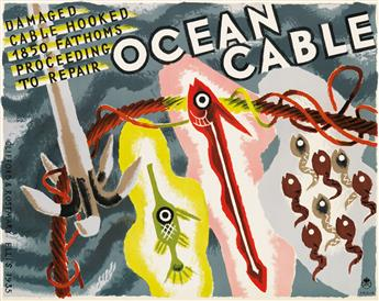 CLIFFORD ELLIS (1907-1985) & ROSEMARY ELLIS (1910-1998). OCEAN CABLE. 1935. 19x25 inches, 50x63 cm.
